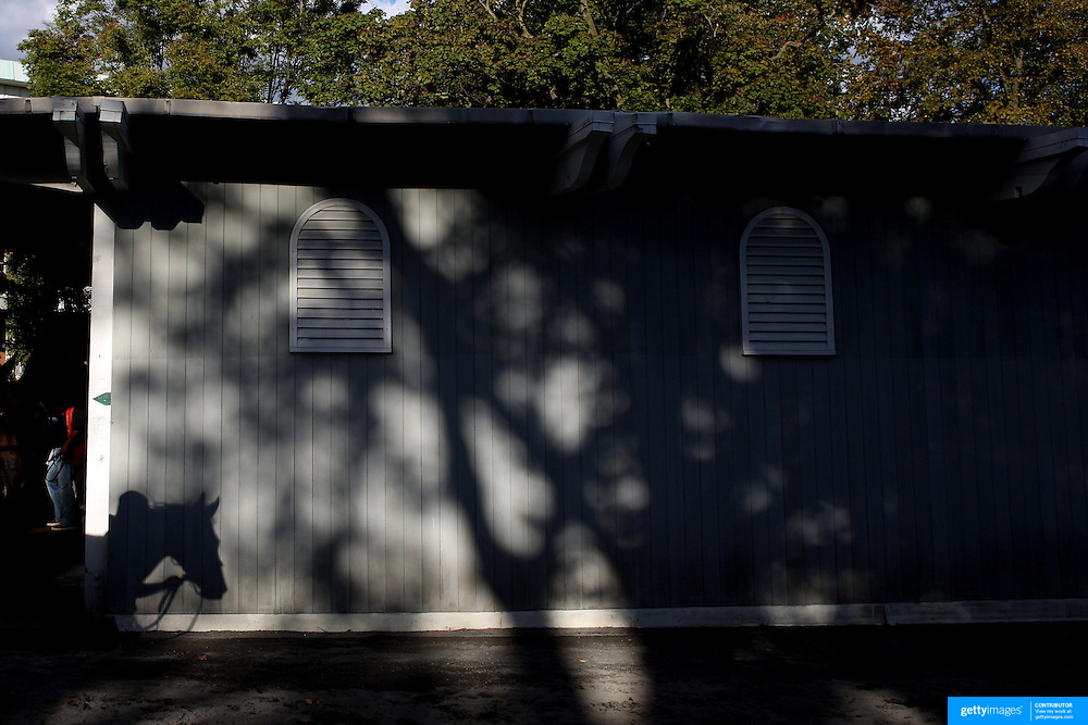 The shadow of a race horse heading back to the stables after racing passing the parade ring stables in the later afternoon sun at Belmont Park during the Jockey Club Gold Cup Day, Belmont Park, New York. USA. 28th September 2013. Photo Tim Clayton