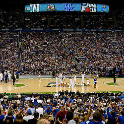 Apr 2, 2012; New Orleans, LA, USA; Kentucky Wildcats cheerleaders perform on the court during the finals of the 2012 NCAA men's basketball Final Four against the Kansas Jayhawks at the Mercedes-Benz Superdome. Mandatory Credit: Derick E. Hingle-US PRESSWIRE