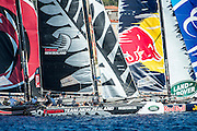 Emirates Team New Zealand, Race start on day two of the Extreme Sailing Series at Nice. 3/10/2014