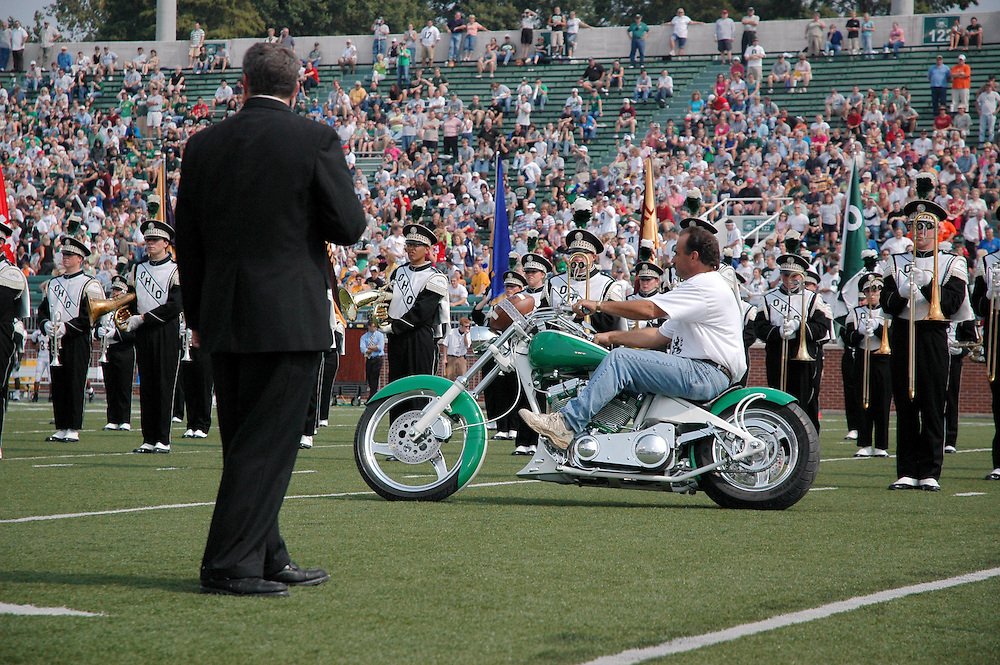 Ohio University's game ball motorcycle delivery service