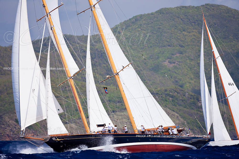 Aschanti IV and Mariella sailing in the 2010 Antigua Classic Yacht Regatta, Windward Race, day 4.