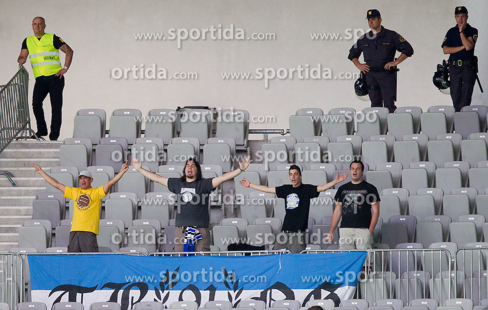 Fans of Gorica during football match between NK Olimpija Ljubljana and NK Gorica in 3rd Round of Prva liga NZS 2012/13, on July 29, 2012 in SRC Stozice, Ljubljana, Slovenia. (Photo by Vid Ponikvar / Sportida.com)
