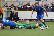 AFC Wimbledon striker Cody McDonald (10) on his way to score a goal during the The FA Cup match between AFC Wimbledon and Charlton Athletic at the Cherry Red Records Stadium, Kingston, England on 3 December 2017. Photo by Matthew Redman.