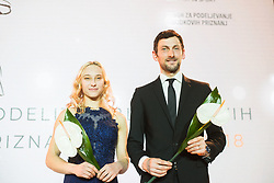 Janja Garnbret and Jakov Fak at 54th Annual Awards of Stanko Bloudek for sports achievements in Slovenia in year 2018 on February 13, 2019 in Brdo Congress Center, Brdo, Ljubljana, Slovenia,  Photo by Peter Podobnik / Sportida
