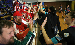 Fans of Krim and Urska Oven at handball game ZRK Celje Celjske Mesnine vs RK Krim Mercator in final match of Slovenian Handball Cup,  on April 6, 2008 in Arena Golovec, Celje, Slovenia. Krim won the game 31:21 and became Cup Winner.  (Photo by Vid Ponikvar / Sportal Images)