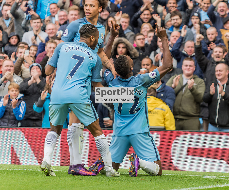 Manchester City forward Kelechi Iheanacho (72) celebrates scoring in the Premier League match between Manchester City and Southampton<br /> <br /> (c) John Baguley | SportPix.org.uk