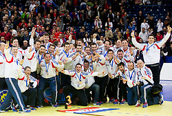 29.01.2012, Beogradska Arena, Belgrade, SRB, EHF Handball EURO 2012, Finale, Serbia vs Denmark, im Bild Third placed team of Croatia celebrate at final ceremony // after the final handball match between Serbia and Denmark at 10th EHF European Handball Championship Serbia 2012, on January 29, 2012 in Beogradska Arena, Belgrade, Serbia. Denmark defeated Serbia 21-19 and became European Champion 2012. EXPA Pictures © 2012, PhotoCredit: EXPA/ Sportida/ Vid Ponikvar..***** ATTENTION - OUT OF SLO *****