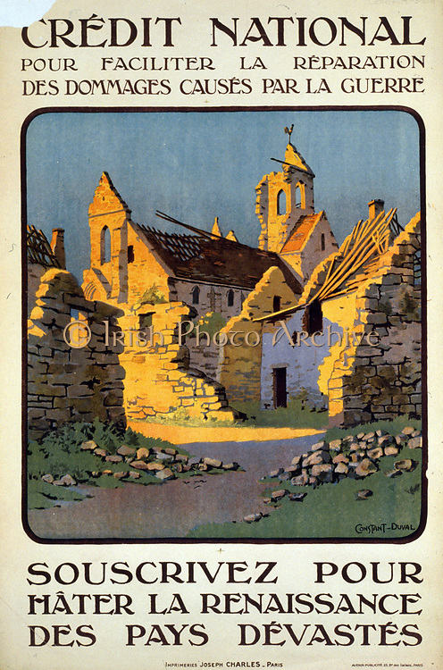 Poster for French Credit National fund for reconstruction after World War I, showing a ruined village church and cottages, 1920. Constant Léon Duval (born 1877) French artist.