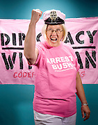 Members of Code Pink pose for portraits in Washington, DC, July 27, 2008.