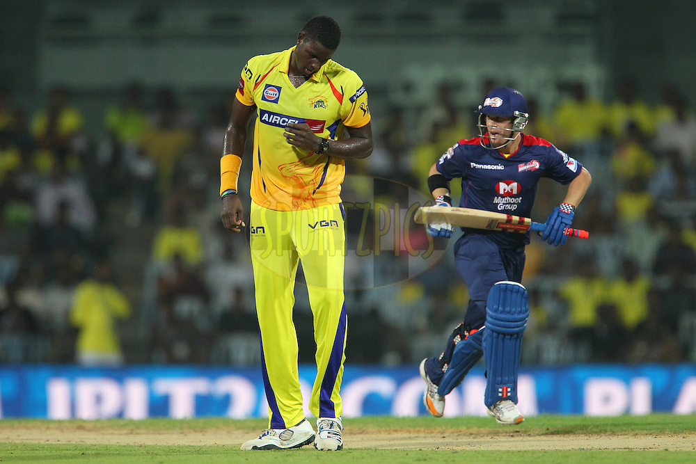 Jason Holder walks back during match 64 of the Pepsi Indian Premier League between The Chennai Superkings and the Delhi Daredevils held at the MA Chidambaram Stadium in Chennai on the 14th May 2013..Photo by Ron Gaunt-IPL-SPORTZPICS   .. .Use of this image is subject to the terms and conditions as outlined by the BCCI. These terms can be found by following this link:..http://www.sportzpics.co.za/image/I0000SoRagM2cIEc