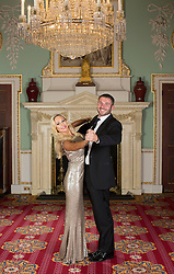 LONDON- UK- 16-SEPT-2014: Kristina Rihanoff with Ben Cohen at The Dot Com Children&rsquo;s Foundation Strictly Ballroom Fundraising Dinner at the Mansion House in London.<br /> Strictly Come Dancing inspired ball hosted by Anton Du Beke with a showpiece live performance from Strictly Come Dancing&rsquo;s Kristina Rihanoff and her dance partner Ian Waite along with other professional dancers from Strictly &ndash; Aljaz Scorjanec (last year&rsquo;s winning professional), Jannette Manrara, Kevin Clifton and Karen Hauer. The evening was opened by Cherie Blair and her daughter Catherine Blair and also include contributions from Sharon Evans, CEO of the foundation and Kristina Rihanoff, who is a foundation trustee.<br /> Photograph by Ian Jones
