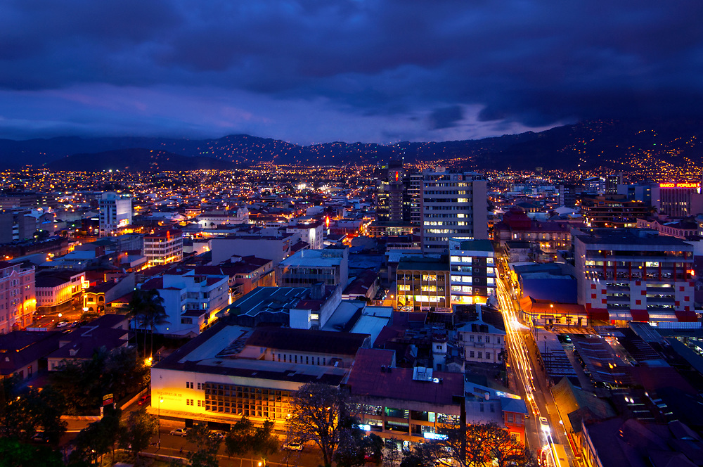 Costa Rica, San Jose, Capital City, Central Valley, Dusk, Downtown