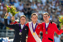 Podium Individual, Fuch Martin, SUI, Maher Ben, GBR, Verlooy Jos, BEL<br /> European Championship Dressage<br /> Rotterdam 2019<br /> © Hippo Foto - Dirk Caremans