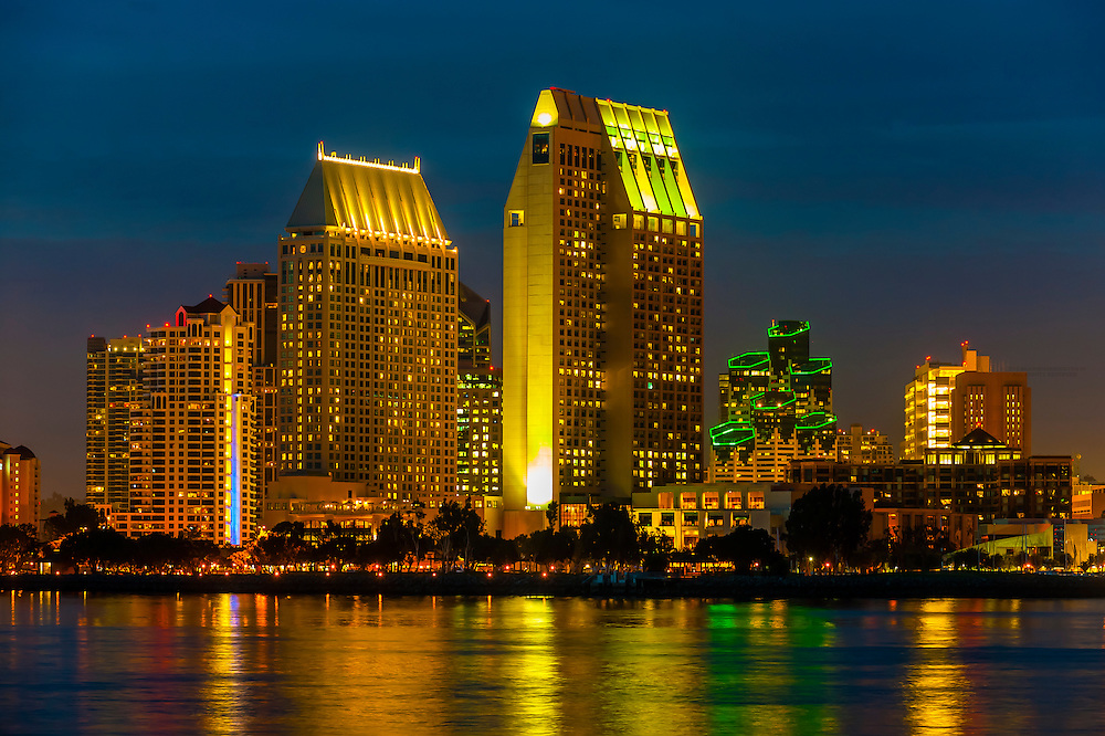 Skyline of downtown San Diego, California USA, seen from Coronado Island.
