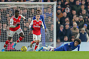 Arsenal forward Alexandre Lacazette (9) breaks, watched by Chelsea midfielder Willian (10), during the Premier League match between Chelsea and Arsenal at Stamford Bridge, London, England on 21 January 2020.