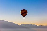 Hot air balloons flying at the Albuquerque International Balloon Fiesta (Sandia Mountains in background), Albuquerque, New Mexico USA.