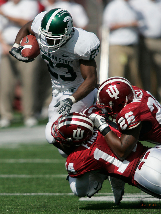 27 September 2008: Michigan State running back Javon Ringer (23) as the Indiana Hoosiers played the Michigan State Spartans in a college football game in Bloomington, Ind....