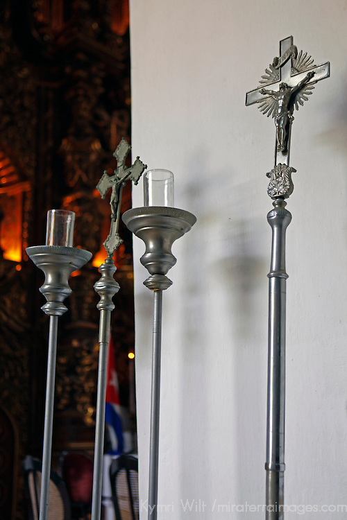 Central America, Cuba, Remedios. Silver staffs at Iglesia Mayor of San Juan Bautista de los Remedios.