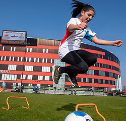 22-03-2019 NED: BvdGF Football clinic AZ, Alkmaar<br /> On the training field of Afas stadion the first BvdGF football clinic. Sport and movements for children with diabetes