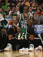 Jan. 28, 2011; Phoenix, AZ, USA; Boston Celtics center Shaquille O'Neal (36) reacts on the bench against the Phoenix Suns at the US Airways Center.  The Suns defeated the Celtics 88-71. Mandatory Credit: Jennifer Stewart-US PRESSWIRE