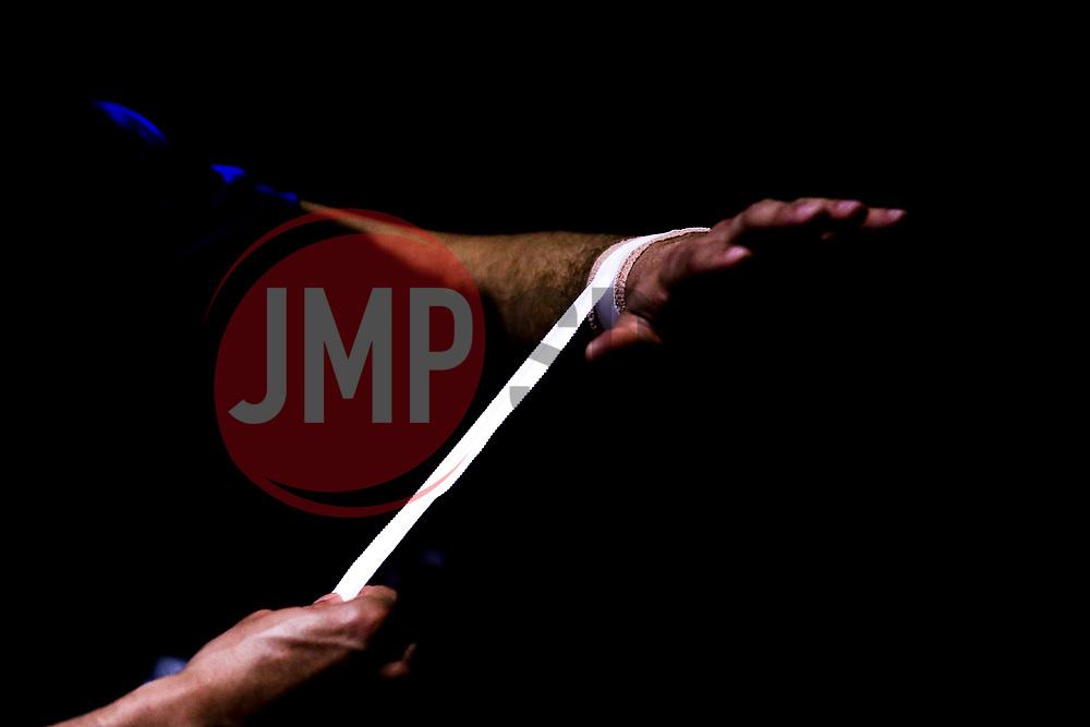 Justin Gray of Bristol Flyers straps up - Photo mandatory by-line: Robbie Stephenson/JMP - 29/03/2019 - BASKETBALL - English Institute of Sport - Sheffield, England - Sheffield Sharks v Bristol Flyers - British Basketball League Championship