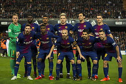 November 26, 2017 - Valencia, Valencia, Spain - Line up FC Barcelona (Ter Stegen, Umtiti,Paulinho, Rakitic, Sergio Busquets, Vermaelen, Leo Messi, Semedo, Iniesta, Luis Suarez, Jordi Alba) during the match between Valencia CF vs. FC Barcelona, week 13 of La Liga at Mestalla Stadium, Valencia, SPAIN on 26th November 2017. (Credit Image: © Jose Breton/NurPhoto via ZUMA Press)