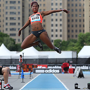 Chelsea Hayes, USA, in action during the Women's long Jump competiton during the Diamond League Adidas Grand Prix at Icahn Stadium, Randall's Island, Manhattan, New York, USA. 13th June 2015. Photo Tim Clayton