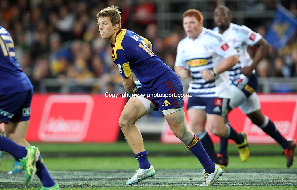 Chris Noakes looks to pass.<br /> Investec Super Rugby - Highlanders v Stormers, 7 April 2012, Forsyth Barr Stadium, Dunedin, New Zealand.<br /> Photo: Rob Jefferies / photosport.co.nz