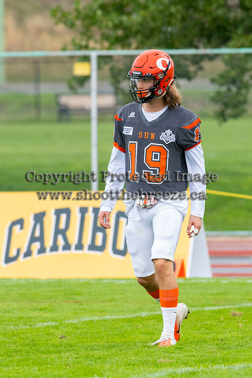 KELOWNA, BC - SEPTEMBER 22: Cole Stregger #19 of Okanagan Sun warms up against the Valley Huskers at the Apple Bowl on September 22, 2019 in Kelowna, Canada. (Photo by Marissa Baecker/Shoot the Breeze)