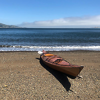 My Pygmy Ronan on an unambed beach near Sausalito. Angel Island in the background and Alcatraz off in the fog.