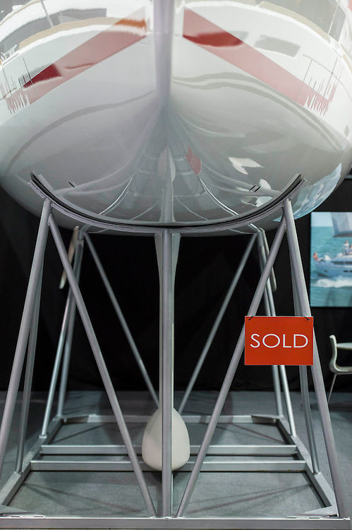A Jeanneau yach is already sold. The CWM FX London Boat Show, taking place 09-18 January 2015 at the ExCel Centre, Docklands, London. 09 Jan 2015.