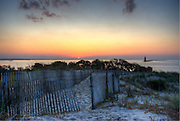 Sunset on Delaware Bay, Cape Henlopen lighthouse, Delaware,HDR image