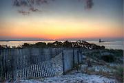 Sunset on Delaware Bay, Cape Henlopen lighthouse, Delaware,HDR image