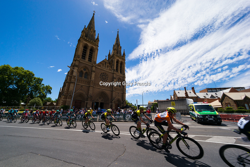 Daryl Impey (R) racing passed St Peters in the city of churches at the Stage 6, Adelaide City Circuit, of the Tour Down Under, Australia on the 21 of January 2018 ( Credit Image: © Gary Francis / ZUMA WIRE SERVICE )