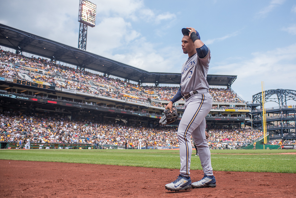 PITTSBURGH, PA - JUNE 08: Carlos Gomez #27  of the Milwaukee Brewers looks on during the game against the Pittsburgh Pirates  at PNC Park on June 8, 2014 in Pittsburgh, Pennsylvania. (Photo by Rob Tringali) *** Local Caption *** Carlos Gomez