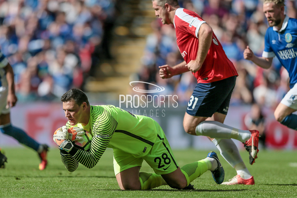 Kyle Letheren (York City) makes a save during the FA Trophy match between Macclesfield Town and York City at Wembley Stadium, London, England on 21 May 2017. Photo by Mark P Doherty.