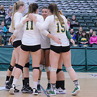 Post team celebration during the Women's Volleyball Home Game vs Trinity Western  on October 28 at the CKHS University of Regina. Credit Matt Johnson/Arthur Images