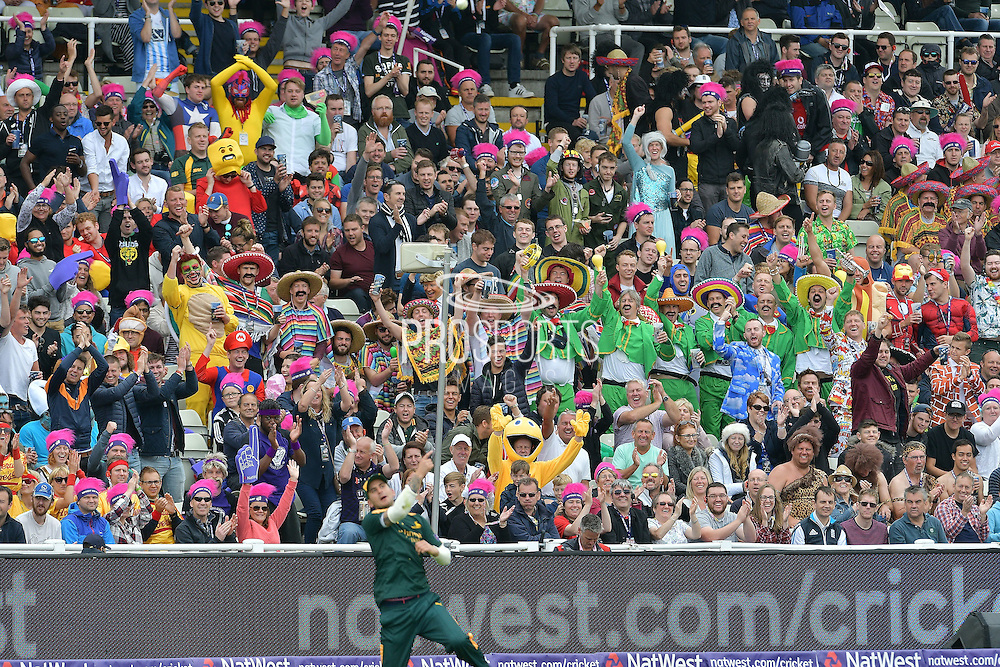 Alex Hales celebrates catching Steven Crook (not shown) in from of jubilant fans during the NatWest T20 Finals Day 2016 match between Nottinghamshire County Cricket Club and Northamptonshire County Cricket Club at Edgbaston, Birmingham, United Kingdom on 20 August 2016. Photo by Simon Trafford.