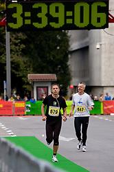 Matej Trobis at the finish line of the 14th Marathon of Ljubljana, on October 25, 2009, in Ljubljana, Slovenia.  (Photo by Vid Ponikvar / Sportida)