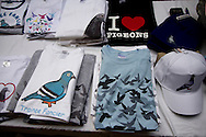 Pigeon memorabilia and souvenirs on sale at the annual Royal Pigeon Racing Association Show of the Year at the Winter Gardens, Blackpool. The two-day show takes place each year in Blackpool and attracts 4000 entries from pigeon fanciers from all over the world. The two-day event attracted 20,000 competitors and spectators.