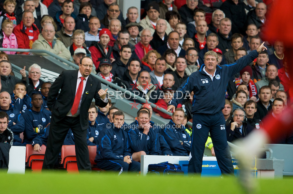 LIVERPOOL, ENGLAND - Saturday, October 18, 2008: Liverpool's manager Rafael Benitez and Wigan Athletic's manager Steve Bruce during the Premiership match at Anfield. (Photo by David Rawcliffe/Propaganda)