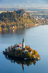 View on lake Bled from Mala Osojnica, on October 14, 2017 in Bled, Slovenia. Photo by Matic Klansek Velej / Sportida