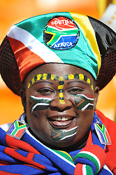 JOHANNESBURG, SOUTH AFRICA - Friday, June 11, 2010: A South Africa supporter during the opening Group A match between South Africa and Mexico during the 2010 FIFA World Cup South Africa at the Soccer City Stadium. (Pic by Hoch Zwei/Propaganda)