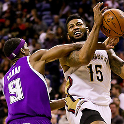 Jan 28, 2016; New Orleans, LA, USA; Sacramento Kings guard Rajon Rondo (9) fouls New Orleans Pelicans forward Alonzo Gee (15) during the third quarter of a game at the Smoothie King Center. The Pelicans defeated the Kings 114-105. Mandatory Credit: Derick E. Hingle-USA TODAY Sports