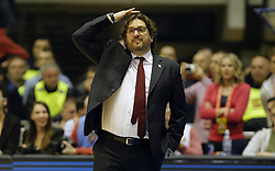 BELGRADE (SERBIA), March 2, 2017  Brose Bamberg's head coach Andrea Trinchieri gestures during Regular Season Round 24 Euroleague basketbal match between Crvena Zvezda and Brose Bamberg in Belgrade on March 2, 2017. Crvena Zvezda won 74:60  (Credit Image: © Predrag Milosavljevic/Xinhua via ZUMA Wire)