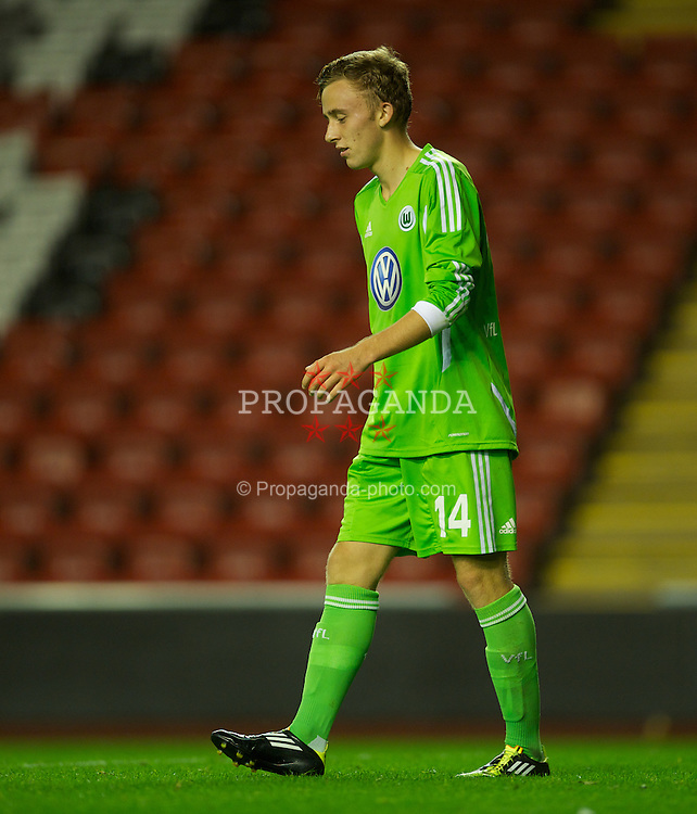 LIVERPOOL, ENGLAND - Wednesday, September 14, 2011: VfL Wolfsburg's Marvin Kleihs looks dejected after his own-goal equalised for Liverpool with four minutes remaining during the NextGen Series Group 2 match at Anfield. (Pic by David Rawcliffe/Propaganda)