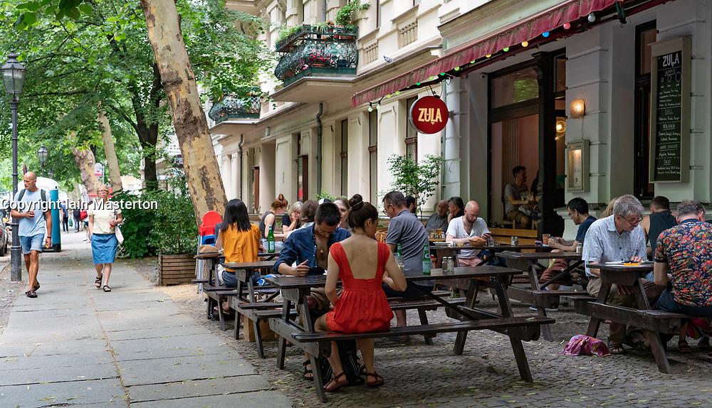 Busy cafe Zula in summer in Prenzlauer Berg in Berlin, Germany