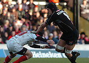 2005/06, Heineken Cup, 4th Rd, Saracens vs Ulster, Saracen's Ben Skirving ahnds off David Humphreys, Vicarage Road, ENGLAND   © Peter Spurrier/Intersport Images - email images@intersport-images..