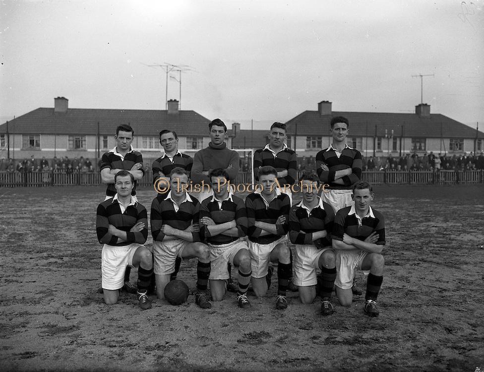 08/02/1959<br /> 02/08/1959<br /> 02 February 1959<br /> F.A.I. Intermediate Cup Final: Bray Wanderers v Albert Rovers at Rutland Avenue, Dublin. The Albert Rovers team.