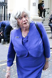 © Licensed to London News Pictures. 27/05/2019. London, UK. Ann Widdecombe MEP for South West England arrives at the EU election results press conference in Westminster. The newly formed Brexit Party wants the UK to leave the EU without an agreement won 10 of the UK's 11 regions, gaining 28 seats, more than 32% of the vote across the country and are largest party in nine regions. Photo credit: Dinendra Haria/LNP